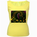 Blue Green Snails Under Sea Fractal Women s Yellow Tank Top