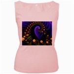 Blue Green Snails Under Sea Fractal Women s Pink Tank Top
