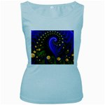 Blue Green Snails Under Sea Fractal Women s Baby Blue Tank Top