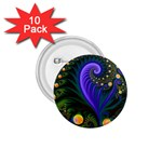 Blue Green Snails Under Sea Fractal 1.75  Button (10 pack)