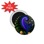Blue Green Snails Under Sea Fractal 1.75  Magnet (10 pack)