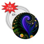Blue Green Snails Under Sea Fractal 2.25  Button (10 pack)