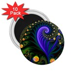 Blue Green Snails Under Sea Fractal 2.25  Magnet (10 pack)