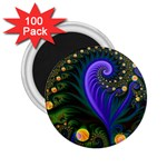 Blue Green Snails Under Sea Fractal 2.25  Magnet (100 pack)