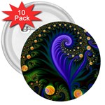 Blue Green Snails Under Sea Fractal 3  Button (10 pack)