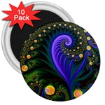 Blue Green Snails Under Sea Fractal 3  Magnet (10 pack)