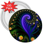 Blue Green Snails Under Sea Fractal 3  Button (100 pack)