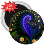 Blue Green Snails Under Sea Fractal 3  Magnet (100 pack)