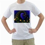 Blue Green Snails Under Sea Fractal White T-Shirt