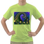 Blue Green Snails Under Sea Fractal Green T-Shirt