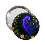 Blue Green Snails Under Sea Fractal 2.25  Handbag Mirror