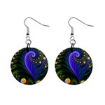 Blue Green Snails Under Sea Fractal 1  Button Earrings