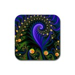 Blue Green Snails Under Sea Fractal Rubber Coaster (Square)