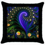 Blue Green Snails Under Sea Fractal Throw Pillow Case (Black)