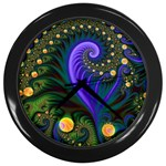 Blue Green Snails Under Sea Fractal Wall Clock (Black)