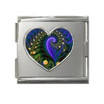 Blue Green Snails Under Sea Fractal Mega Link Heart Italian Charm (18mm)