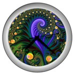 Blue Green Snails Under Sea Fractal Wall Clock (Silver)