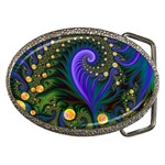 Blue Green Snails Under Sea Fractal Belt Buckle