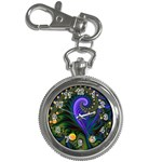 Blue Green Snails Under Sea Fractal Key Chain Watch