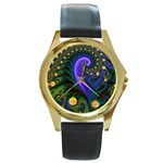 Blue Green Snails Under Sea Fractal Round Gold Metal Watch