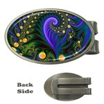 Blue Green Snails Under Sea Fractal Money Clip (Oval)