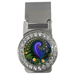 Blue Green Snails Under Sea Fractal Money Clip (CZ)