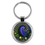 Blue Green Snails Under Sea Fractal Key Chain (Round)