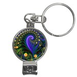 Blue Green Snails Under Sea Fractal Nail Clippers Key Chain