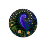 Blue Green Snails Under Sea Fractal Rubber Round Coaster (4 pack)