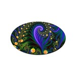 Blue Green Snails Under Sea Fractal Sticker (Oval)