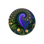 Blue Green Snails Under Sea Fractal Magnet 3  (Round)