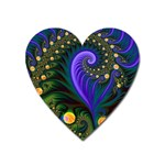 Blue Green Snails Under Sea Fractal Magnet (Heart)