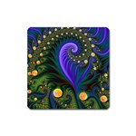 Blue Green Snails Under Sea Fractal Magnet (Square)