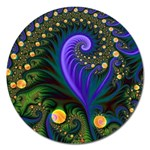 Blue Green Snails Under Sea Fractal Magnet 5  (Round)