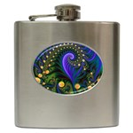 Blue Green Snails Under Sea Fractal Hip Flask (6 oz)
