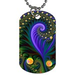 Blue Green Snails Under Sea Fractal Dog Tag (Two Sides)