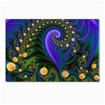 Blue Green Snails Under Sea Fractal Postcard 5  x 7
