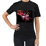 Pink Goth Spider Fingers on Black Women s Black T-Shirt