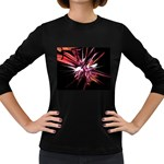 Pink Goth Spider Fingers on Black Women s Long Sleeve Dark T-Shirt