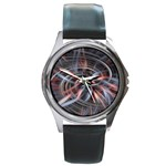 Flower Blooming in a Digital World Round Metal Watch