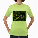 Flower Blooming in a Digital World Women s Green T-Shirt