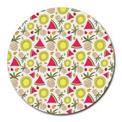 Summer Fruits Pattern Round Mousepads by TastefulDesigns