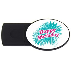 Happy Brithday Typographic Design Usb Flash Drive Oval (4 Gb) by dflcprints
