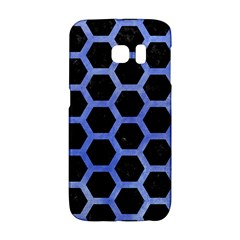 Hexagon2 Black Marble & Blue Watercolor Samsung Galaxy S6 Edge Hardshell Case by trendistuff