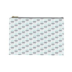 Glasses Black Blue Cosmetic Bag (large)  by Mariart