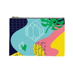 Behance Feelings Beauty Waves Blue Yellow Pink Green Leaf Cosmetic Bag (large)  by Mariart