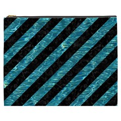 Stripes3 Black Marble & Blue Green Water Cosmetic Bag (xxxl) by trendistuff