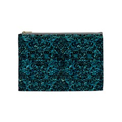 Damask2 Black Marble & Blue Green Water (r) Cosmetic Bag (medium) by trendistuff