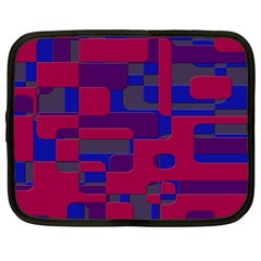 Offset Puzzle Rounded Graphic Squares In A Red And Blue Colour Set Netbook Case (xl)  by Mariart