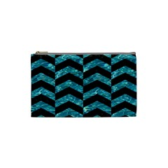 Chevron2 Black Marble & Blue Green Water Cosmetic Bag (small) by trendistuff